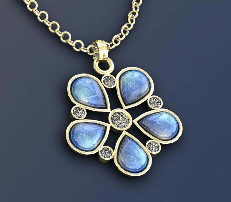Flower Moonstone Pendant