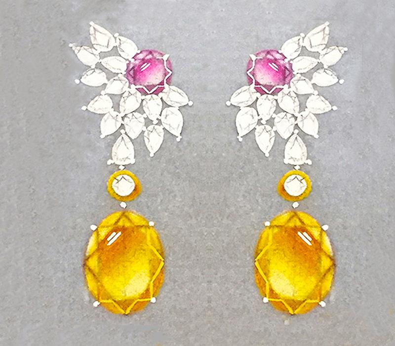 watercolor earrings by Niyati Mehta