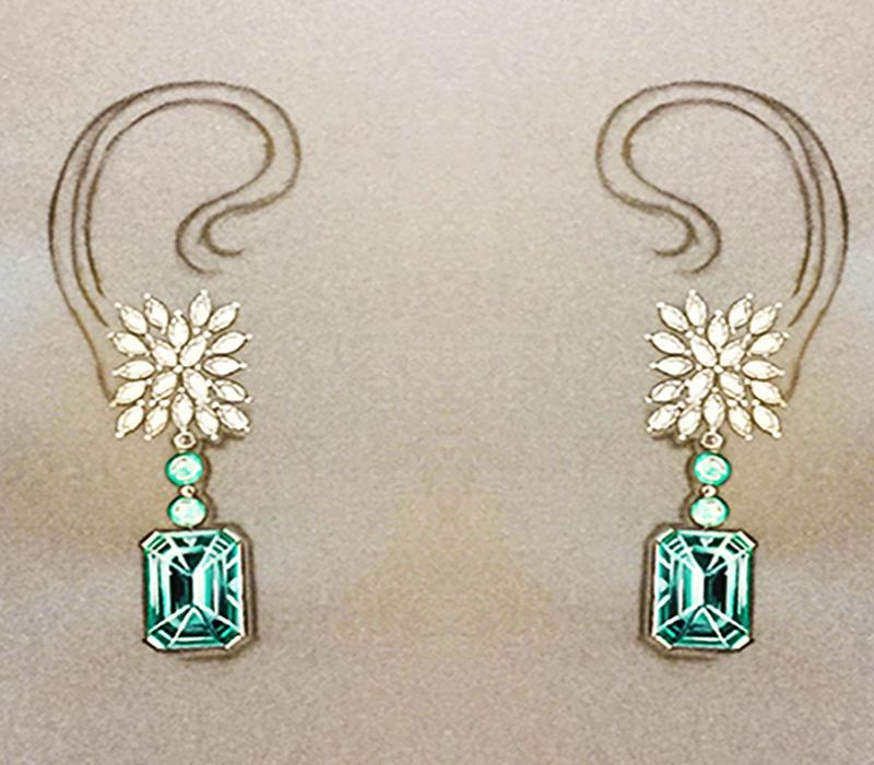 watercolor emeralds by Nayati Mehta