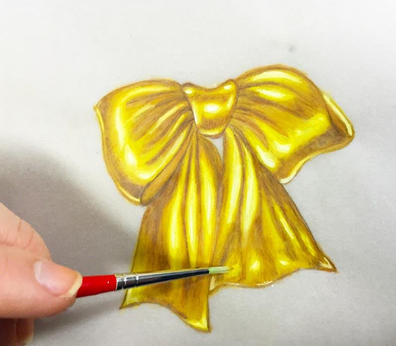 Jenine Lepera Izzi Golden Bow Watercolor