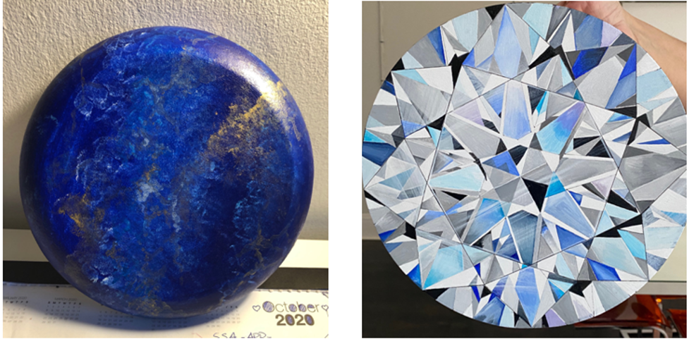 Gemstone art done with acrylic paint